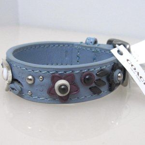 Coach Blue Floral Applique Leather Bracelet 59081